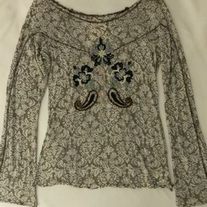 Olive Jane embroidered long sleeve sheer top